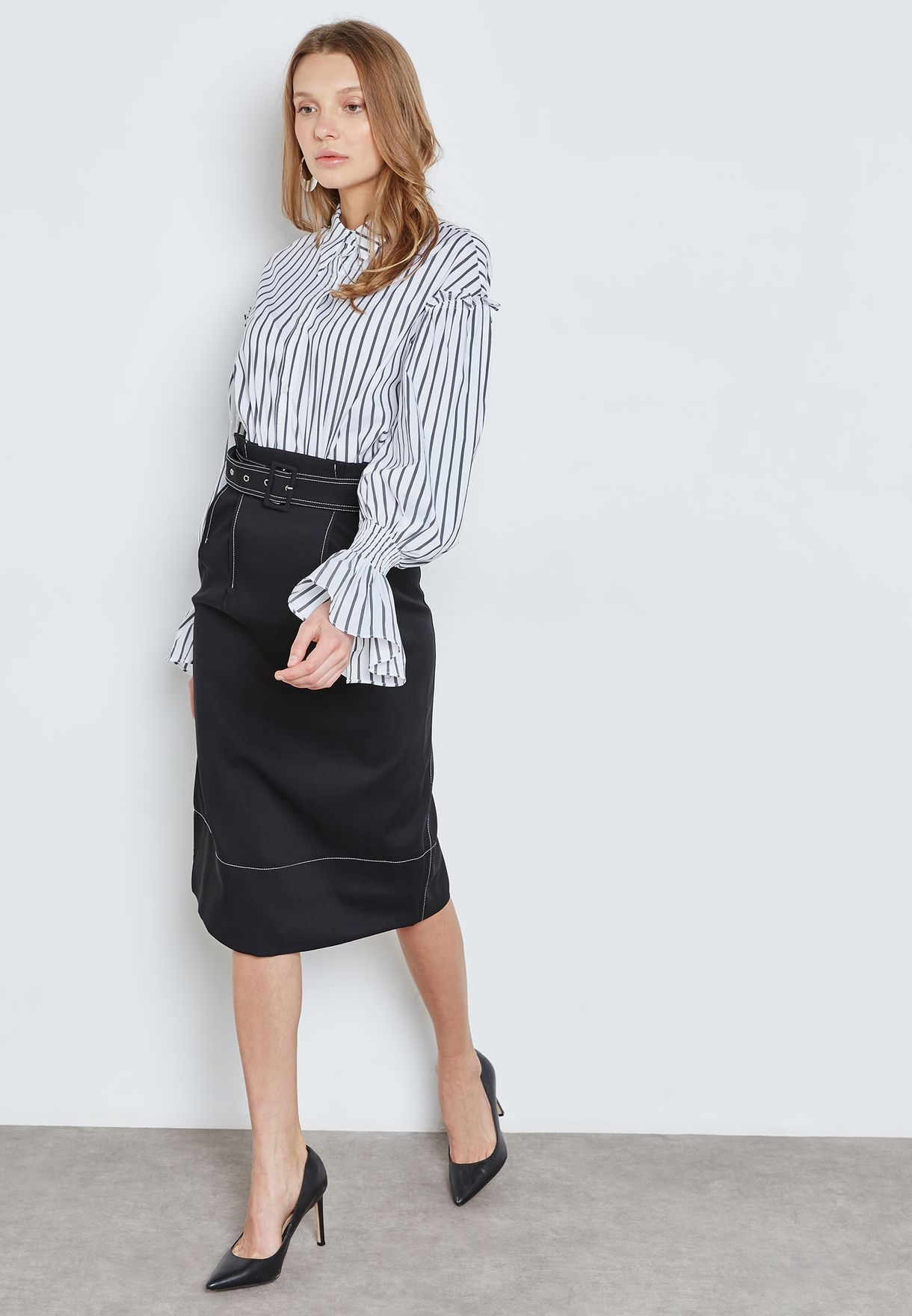 Contrast Piping Belted Skirt