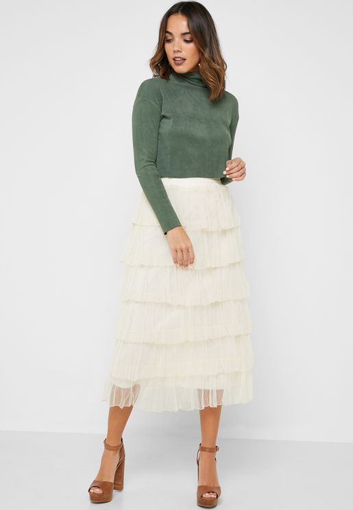 Mesh Tiered Ruffle Midi Skirt