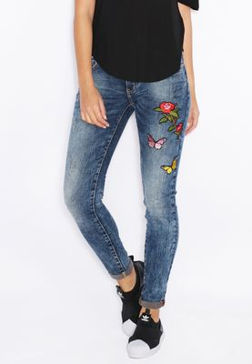 Ginger Embroidered Ripped Skinny Jeans