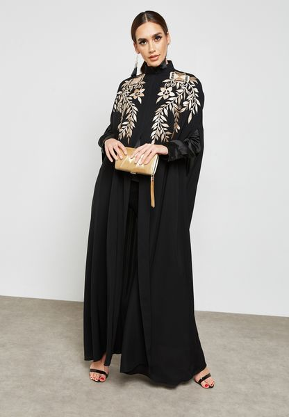 Embroidered Top Cape Abaya