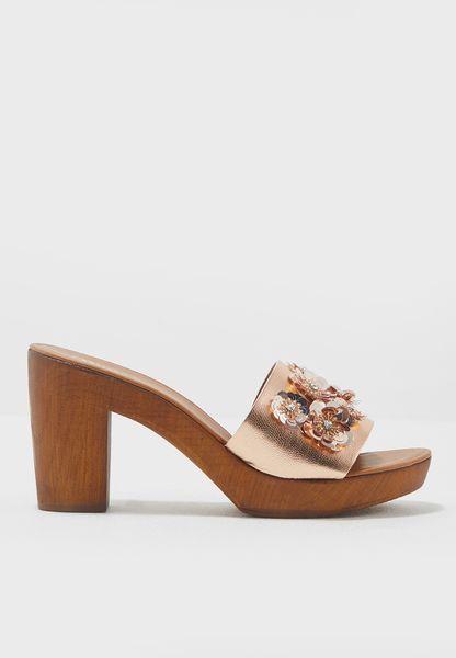 Flower Embellished Block Heel Sandal