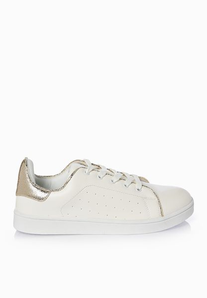 Shop Coco white Metallic Gold Ankle Tab Sneakers for Women in Saudi -  CO949SH93XZY