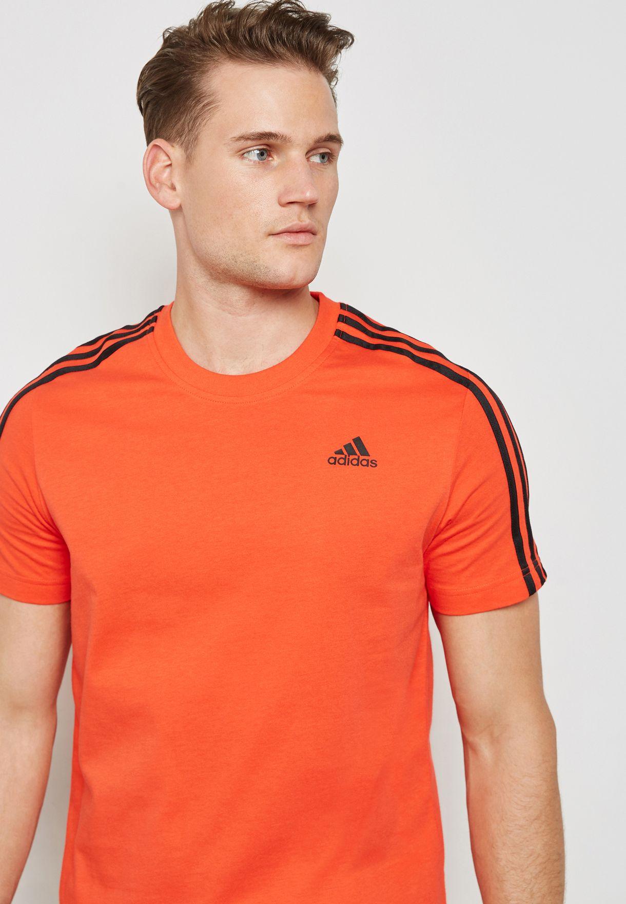 adidas Essentials 3 Stripes T Shirt Men Orange