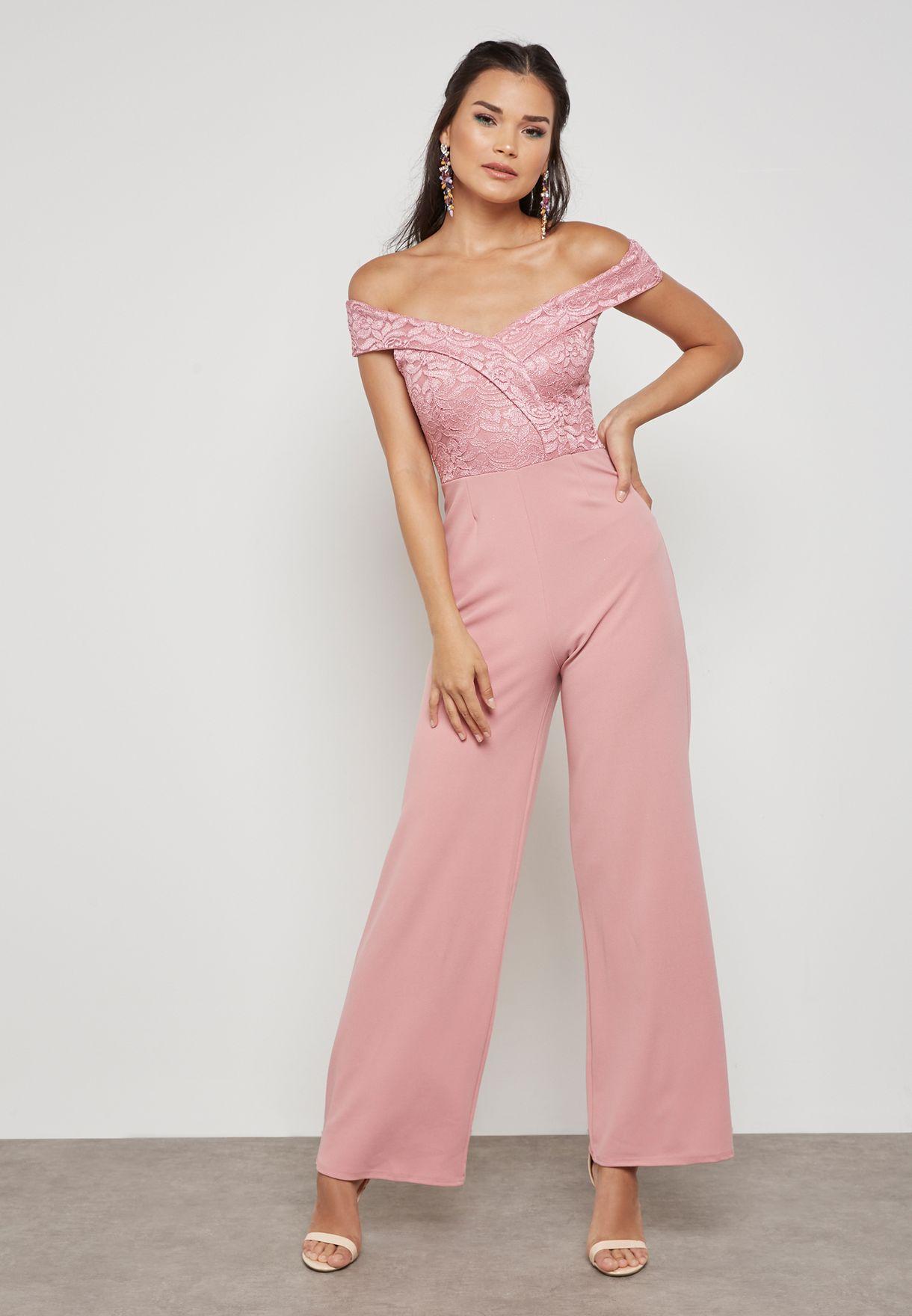 78238b257a46 Shop Quiz pink Lace Detail Bardot Jumpsuit 00100014986 for Women in ...