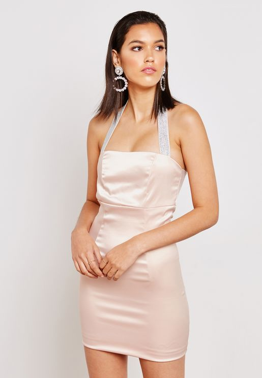 Metallic Halterneck Satin Mini Dress