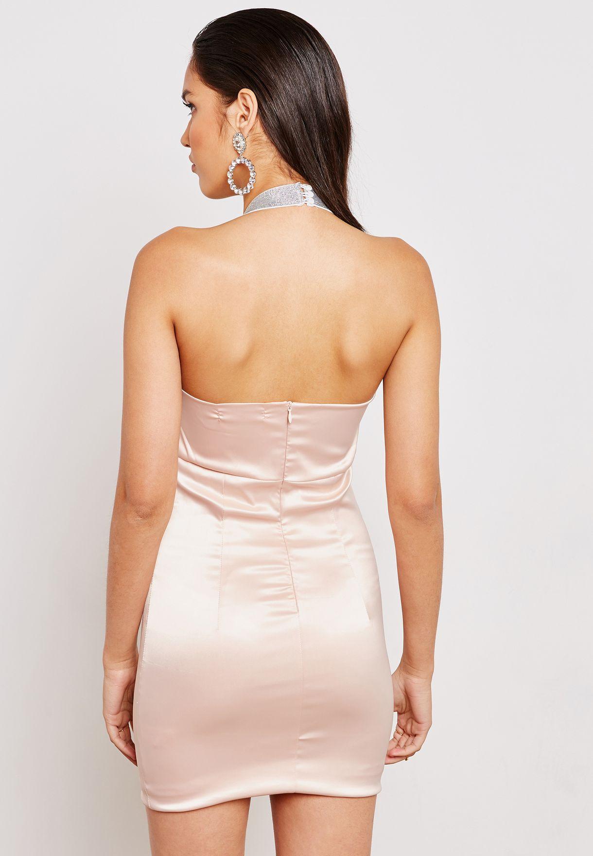Metallic Halterneck Satin Dress