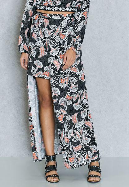 High Low Printed Skirt