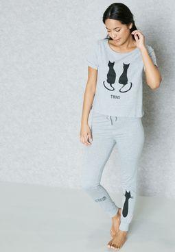 Cat Print Pyjama Set