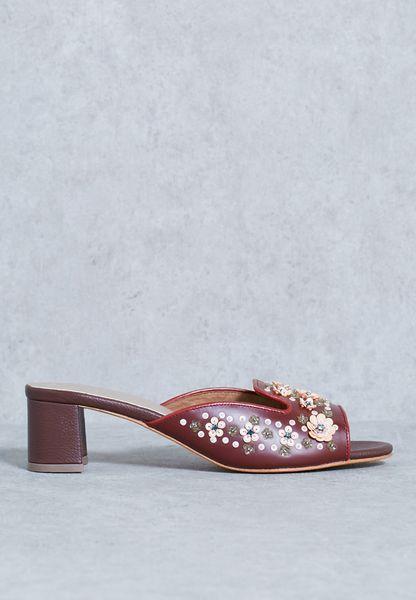 Crystal Embroidery Block Heels