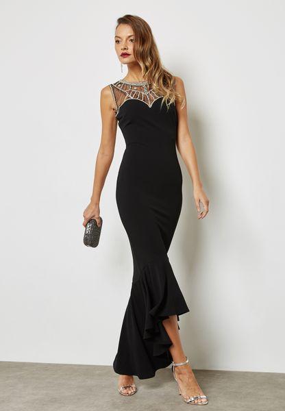 Embellished Yoke Fishtail Dress