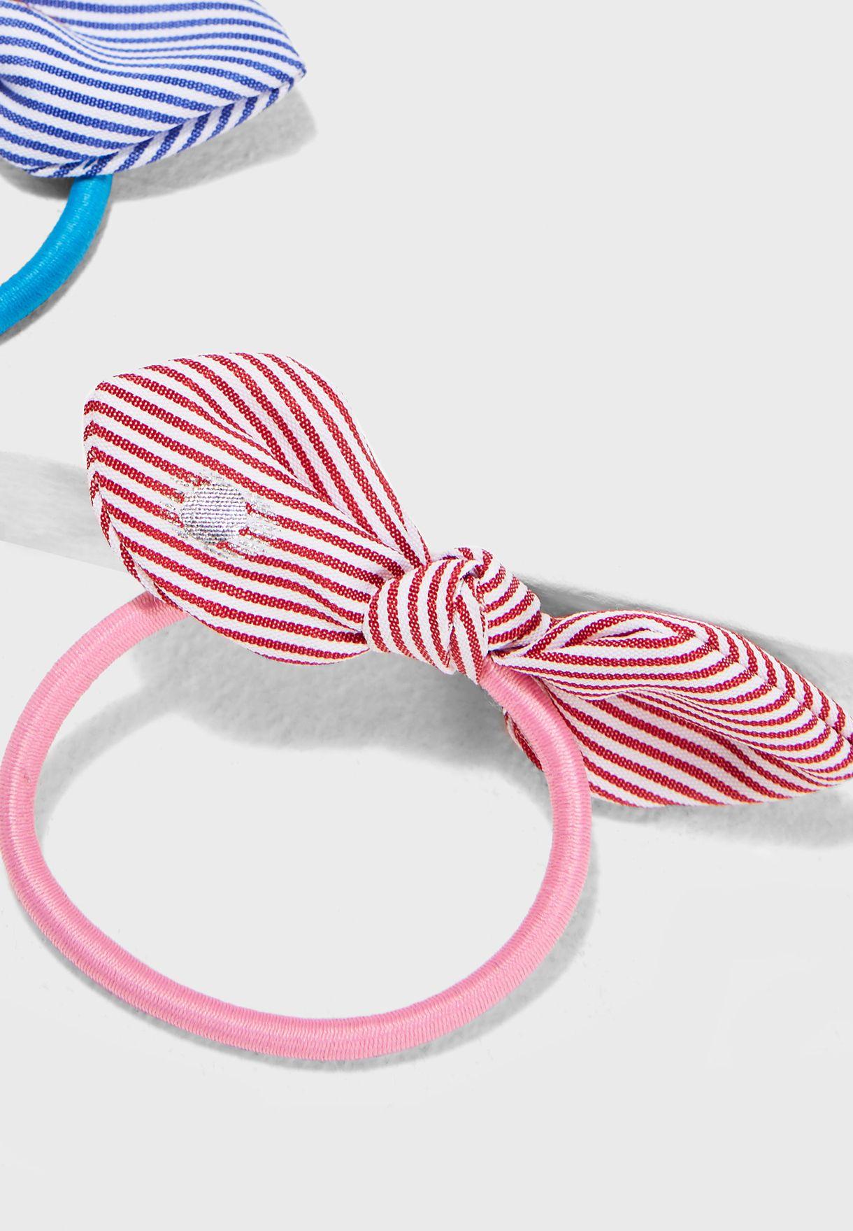 عدد 2 ربطة شعر صغيرة مخططة