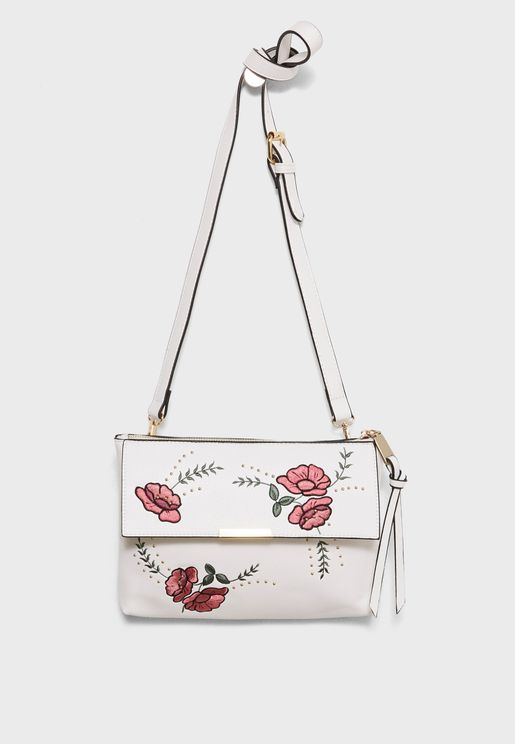 Embroidery Zip Top Crossbody
