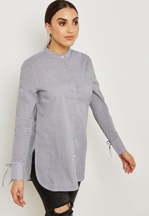 Pinstripe Tie Sleeve Tunic Shirt
