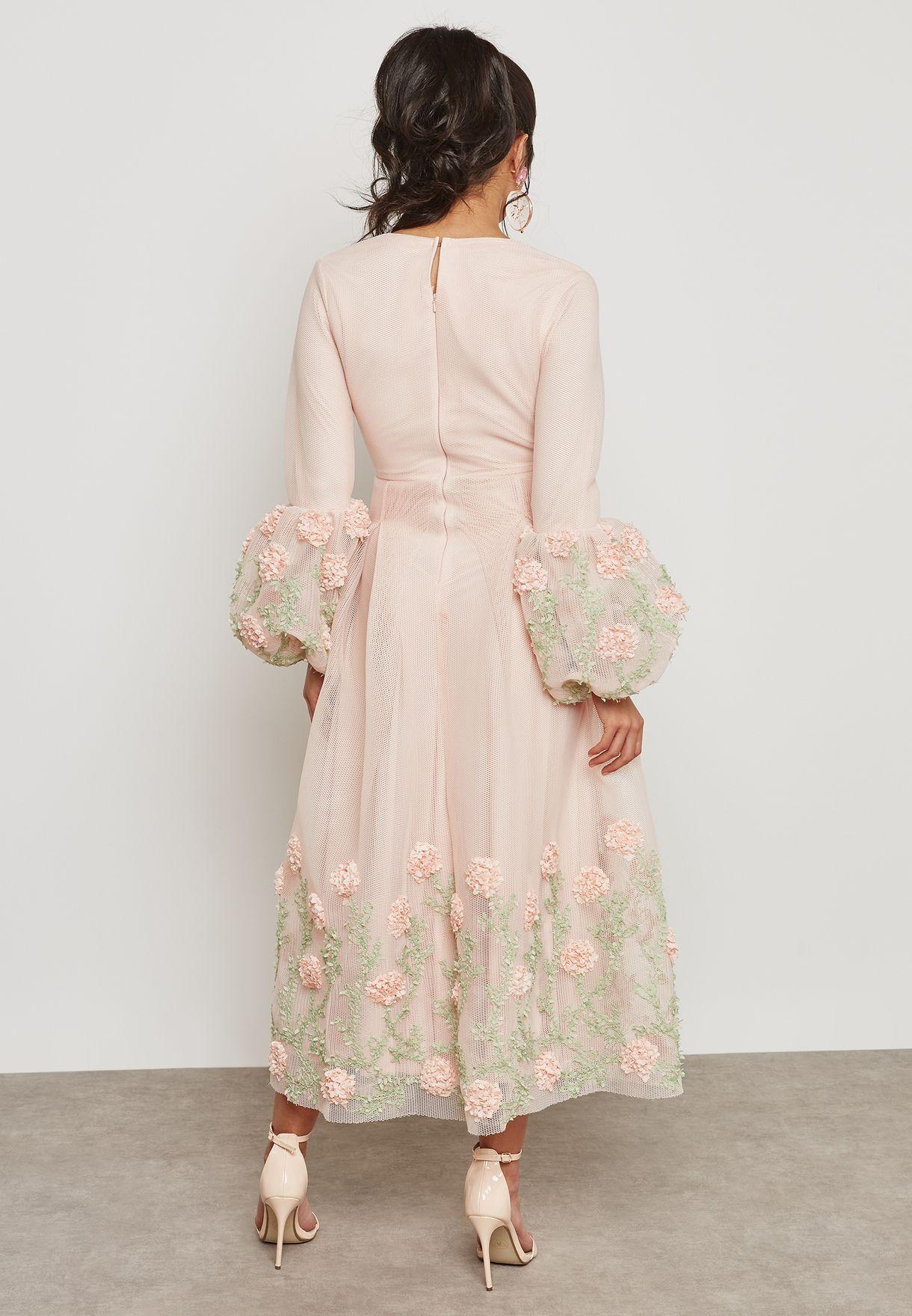 Embellished Puffed Sleeve Dress