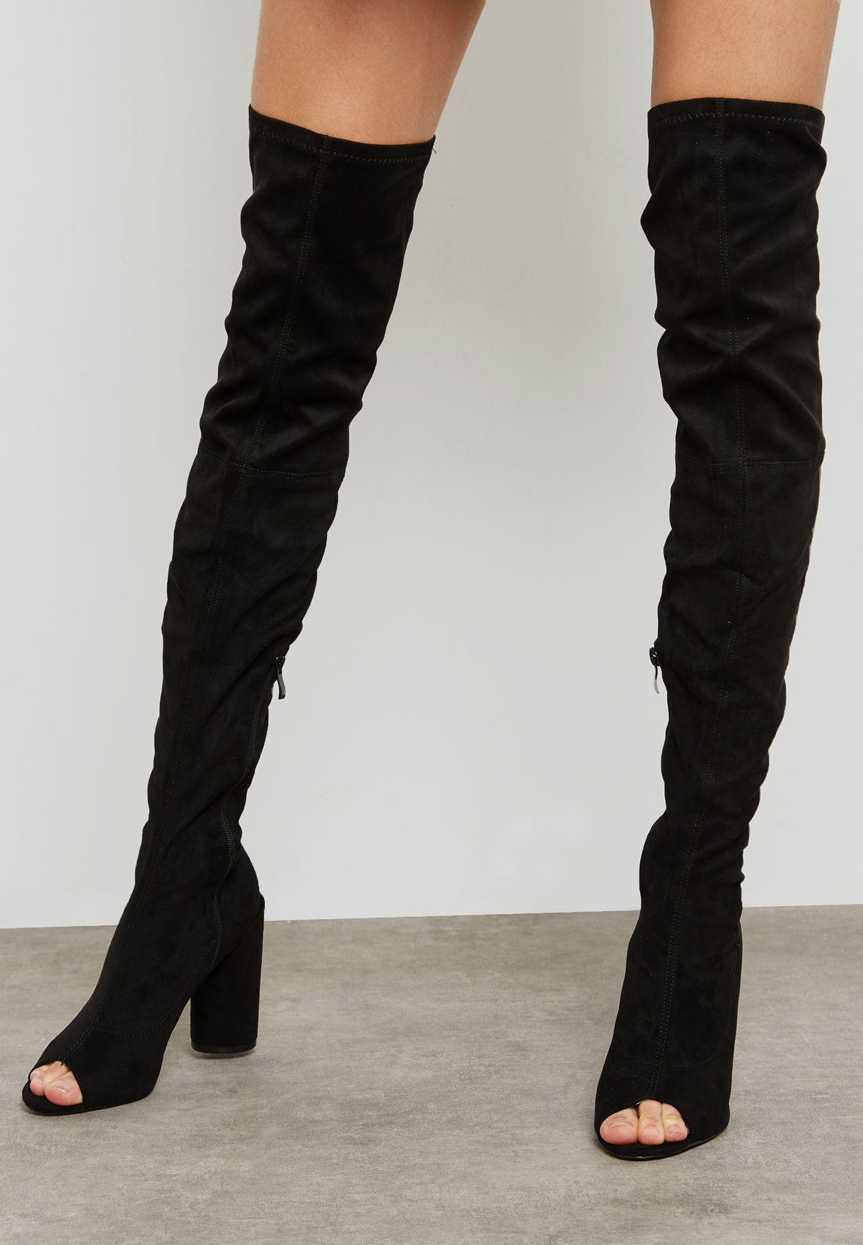 950fae27f7c Shop Public Desire black Jana Knee Peep toe Boot JANA for Women in ...