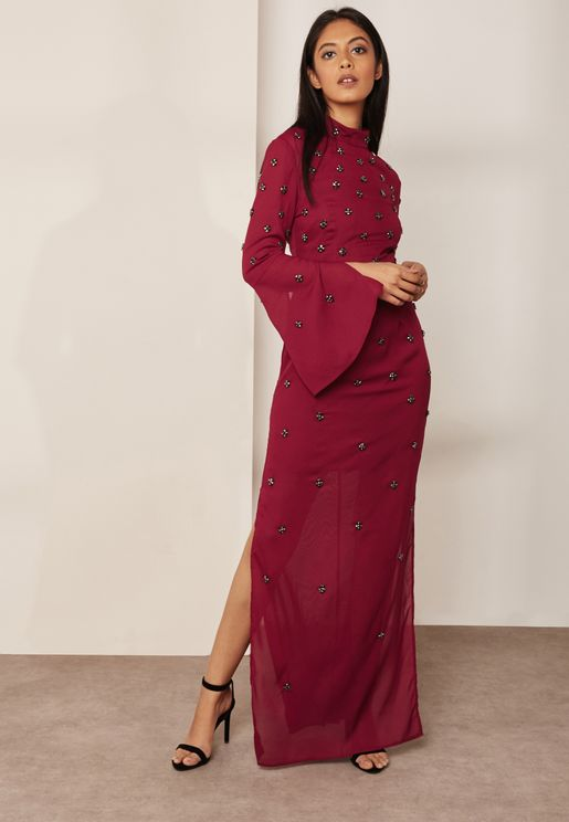High Neck Side Split Maxi Dress