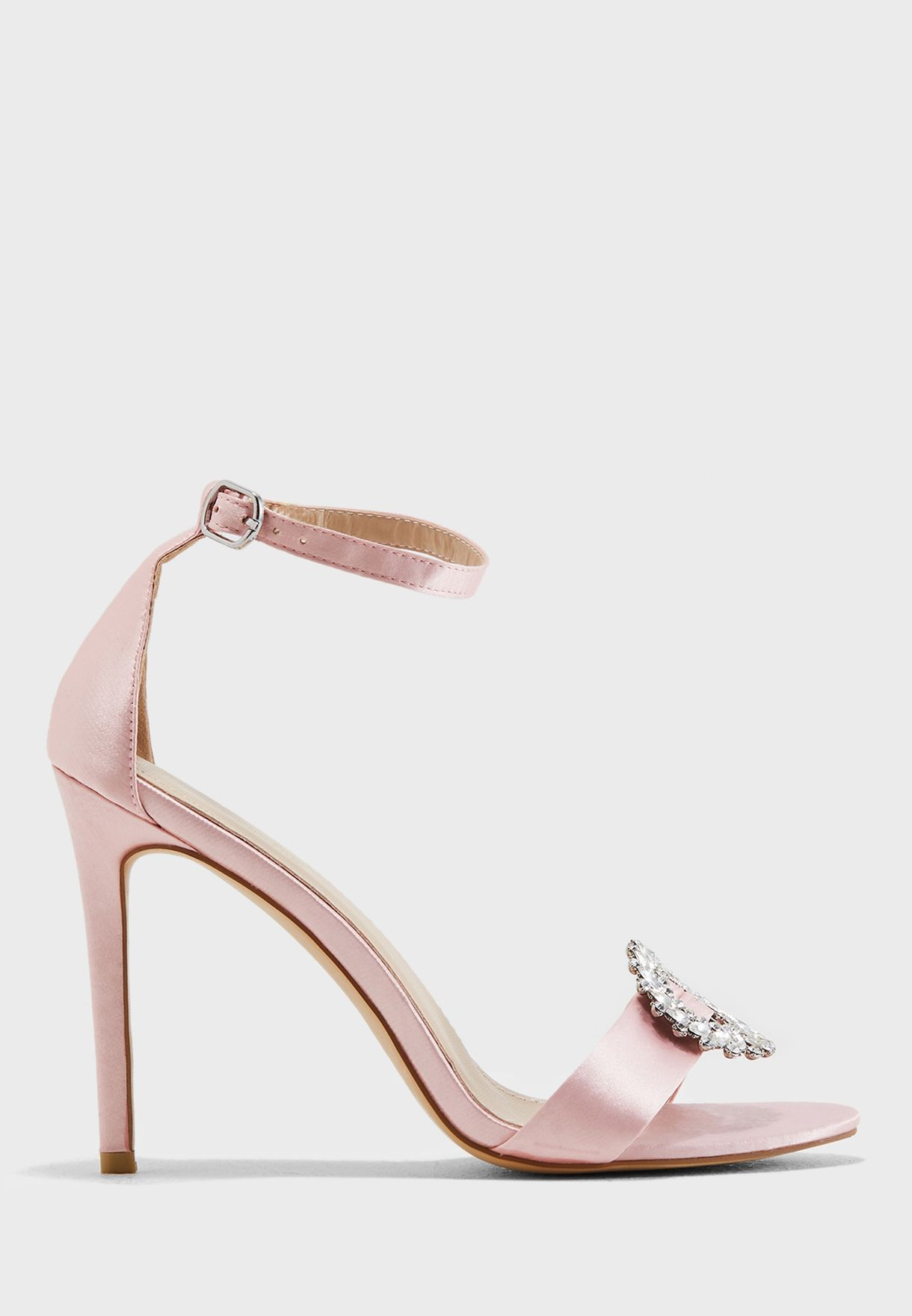 488b0d7cde0 Shop Public Desire pink Halle Silver Brooch Barely There Heel HALLE ...