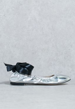 Metallic Ballerina With Ribbon Tie Up
