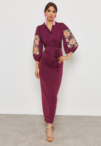 Embroidered Sleeve Self Tie Dress