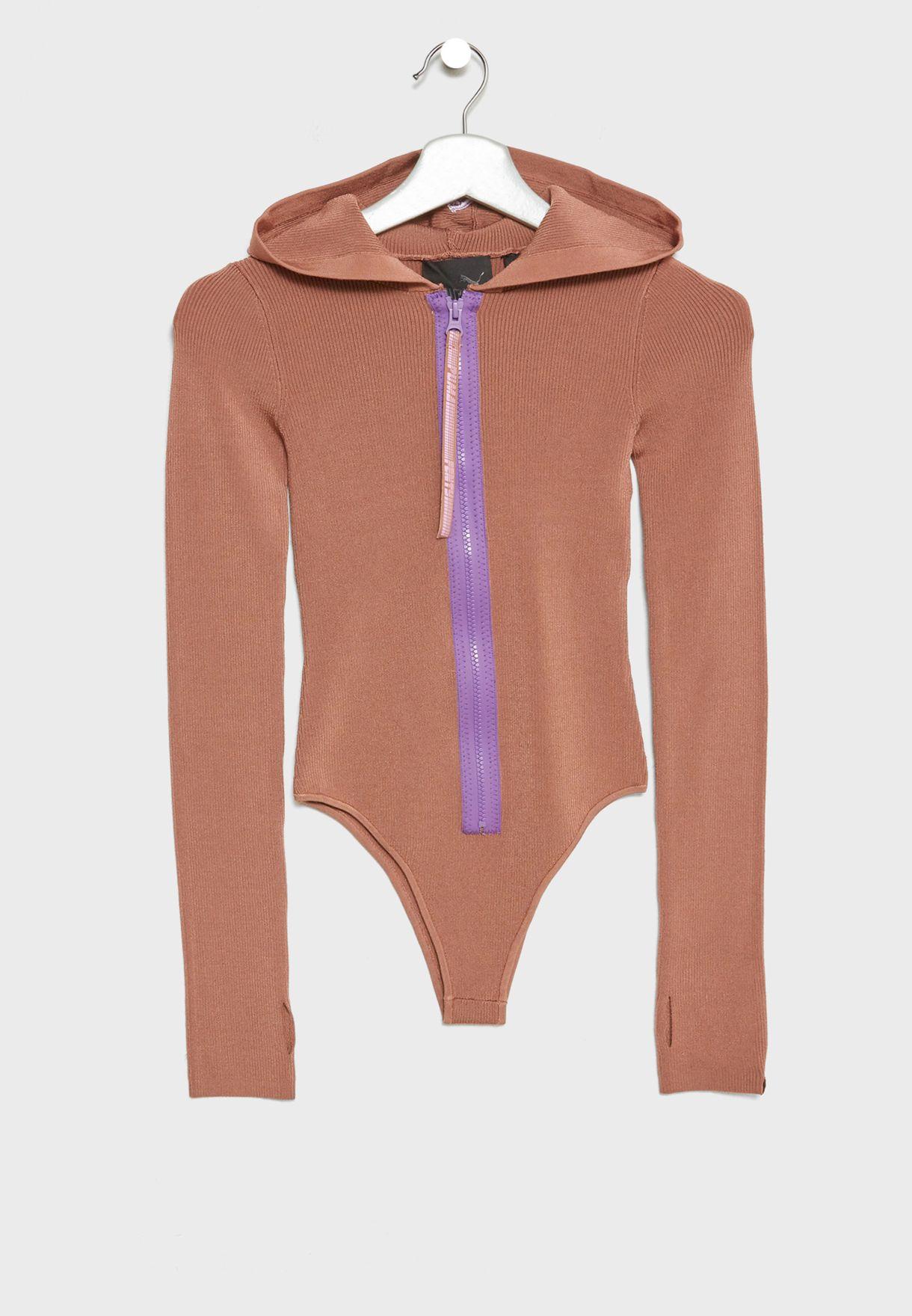 Hooded Zip Up Bodysuit