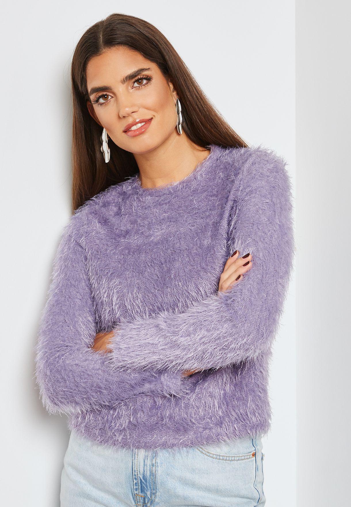 5768c989a Shop Mango purple Faux Fur Sweater 33095758 for Women in UAE ...