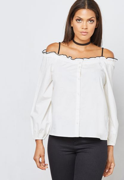 Contrast Piping Cold Shoulder Top