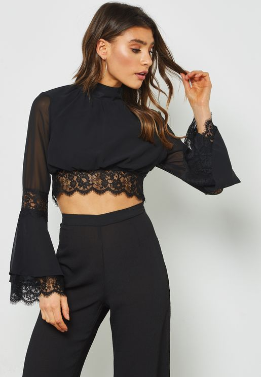 Flared Long Sleeve Lace Trim Crop Top