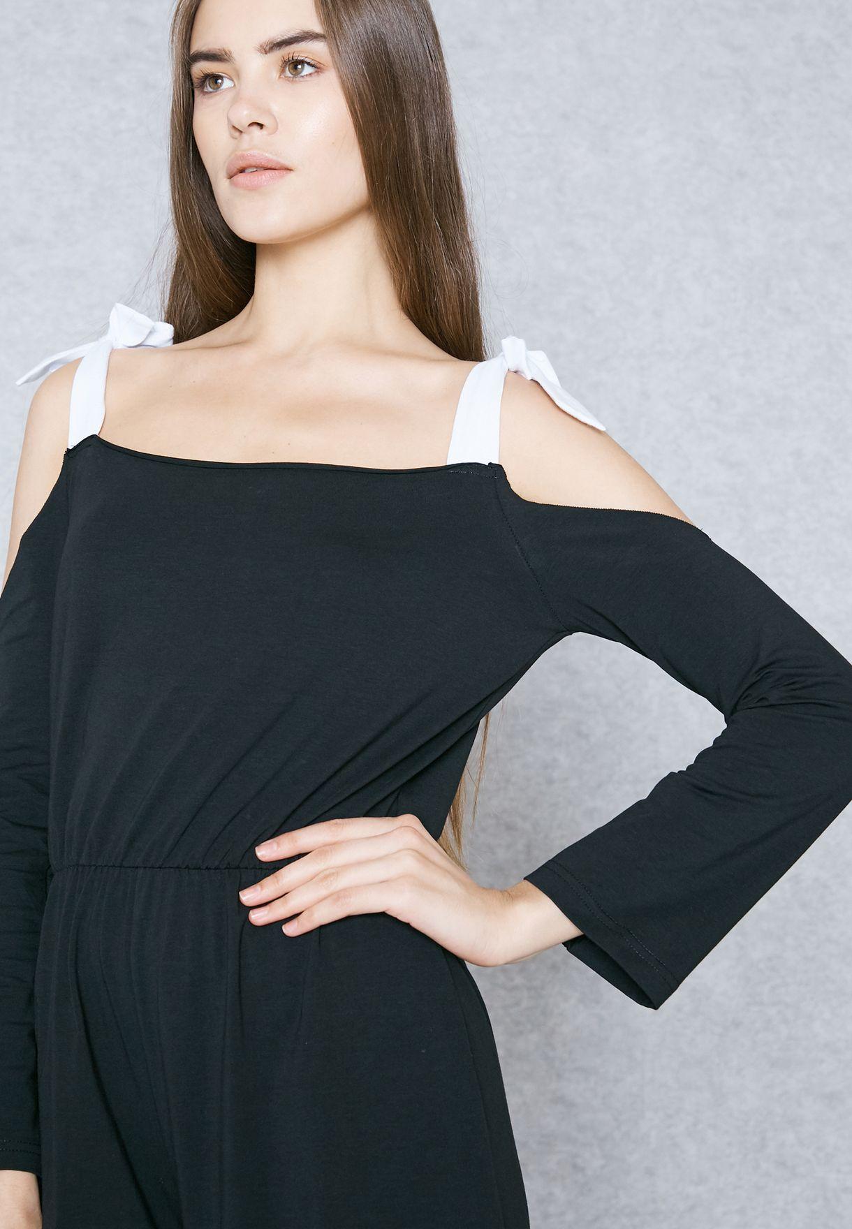 df95569ff89 Shop Ginger black Tie Cold Shoulder Culotte Jumpsuit Nam8515 for ...