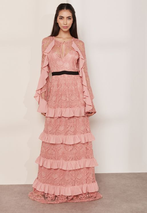 Damask Embroidered Ruffle Lace Maxi Dress