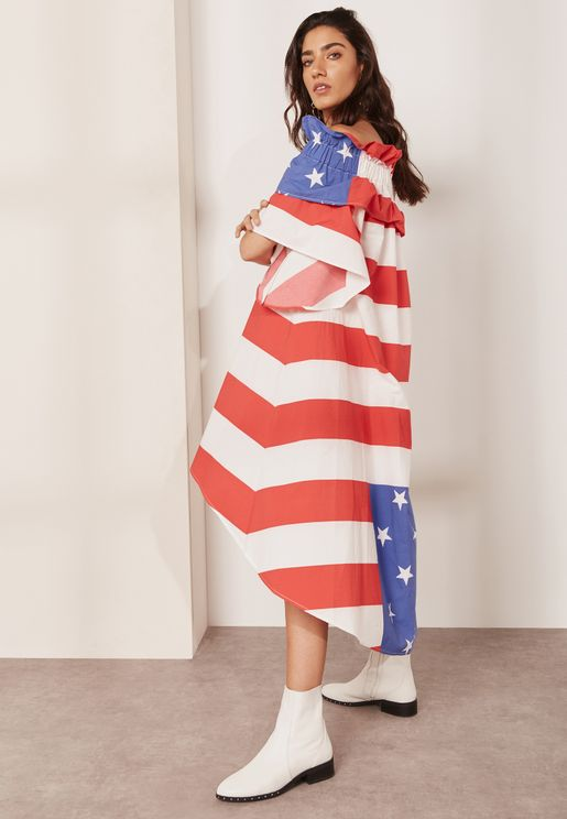 Stars and Stripes Bardot Dress