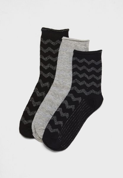 3 Pack Zigzag Socks