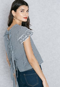 Frill Sleeve Checked Top