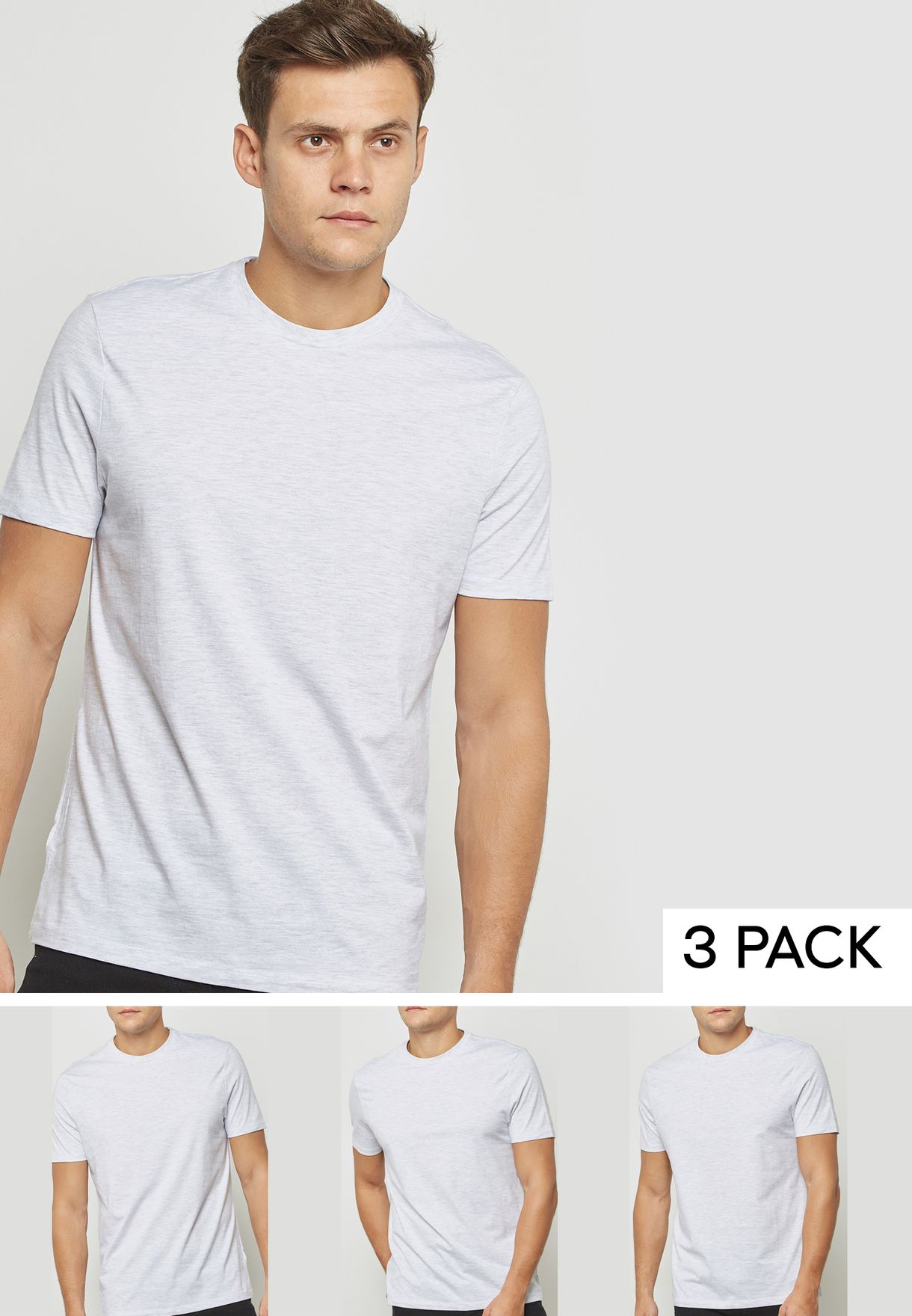 994270c8 Shop Topman grey 3 Pack Slim Fit T-Shirt 71M02QLGY for Men in UAE ...