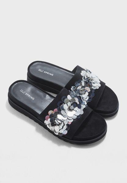 Flower Embellished Slide