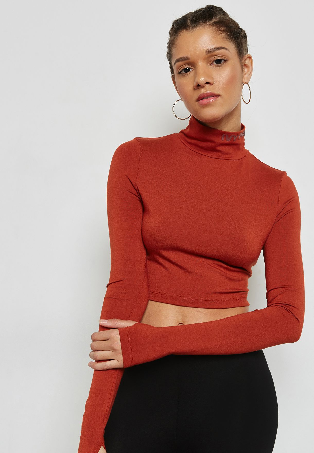 Cut Out High Neck Crop Top