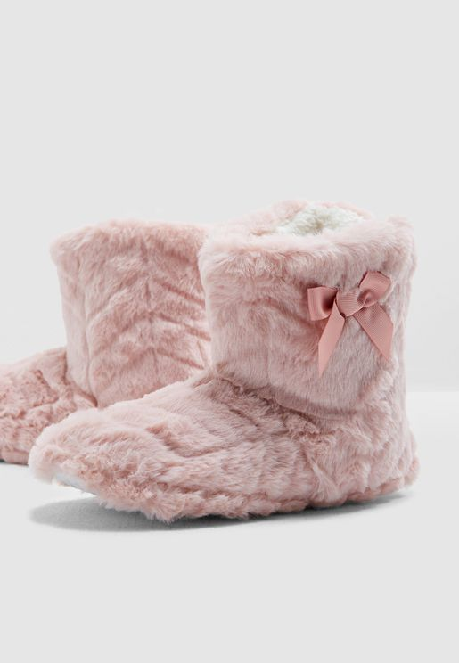 Pink Clip Fur Bootie