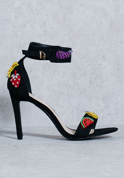 Fruit Embellished Ankle Strap Sandal