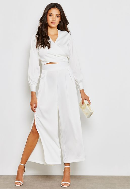 Wrap Front Crop Top Side Slit Pants Set