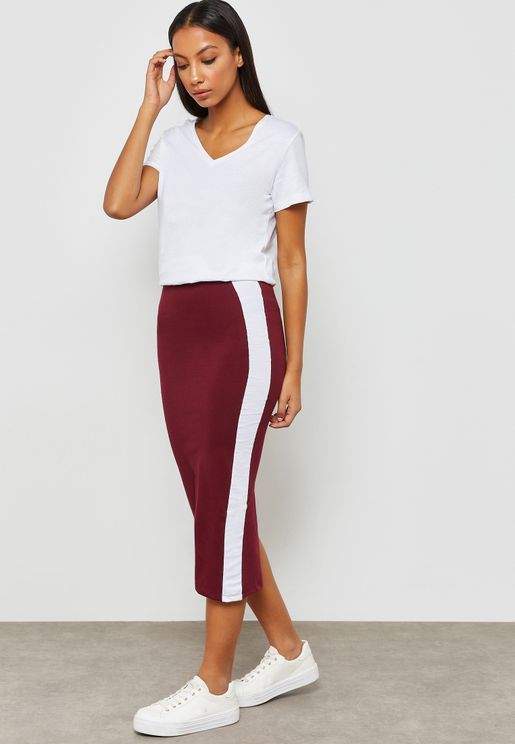 Contrast Side Paneled Midi Skirt