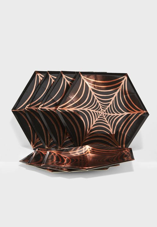 Large Cobweb Plate Set of 8