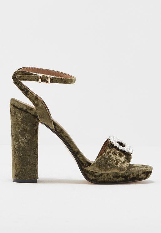 Velvet Block Heel