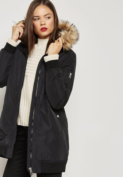 Faux Fur Collar Longline Jacket