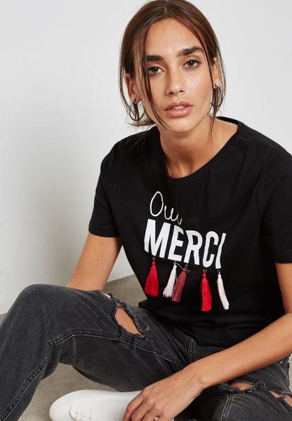 Tassel Slogan T-Shirt