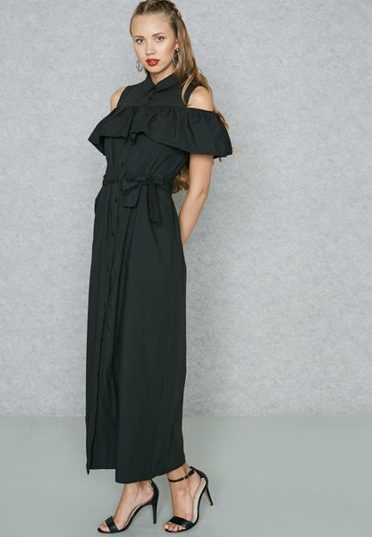 Ruffle Cold Shoulder Shirt Maxi Dress