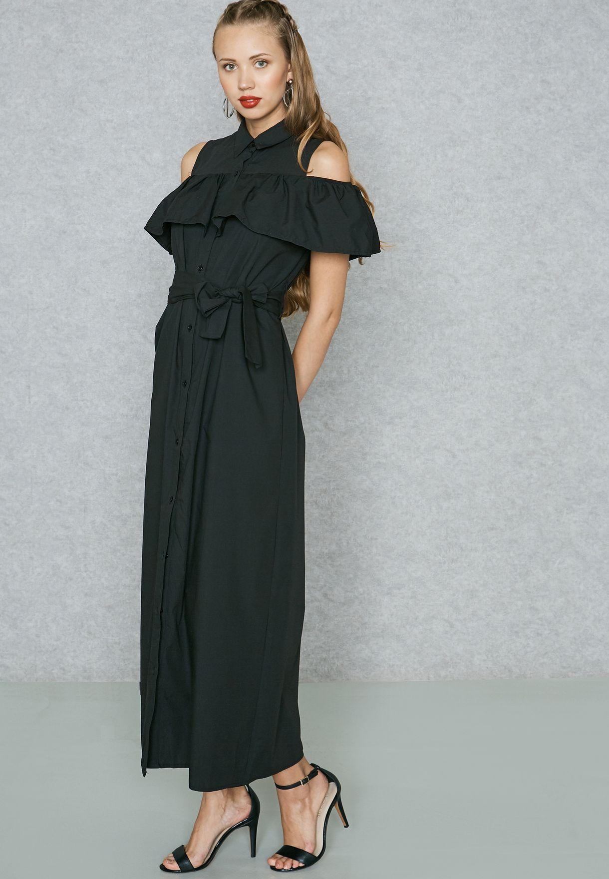 e29e572ded385b Shop Ginger black Ruffle Cold Shoulder Shirt Maxi Dress W253001A for ...