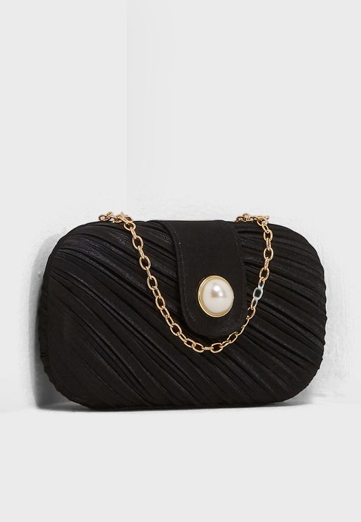 Pleated Boxy Clutch With Pearl Button