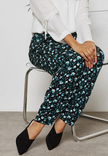 Floral Print Tapered Leg Pants