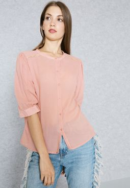 Contrast Piping Shoulder Shirt
