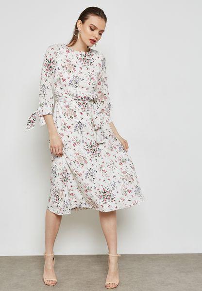 Floral Print Tie Cuffed Self Tie Dress