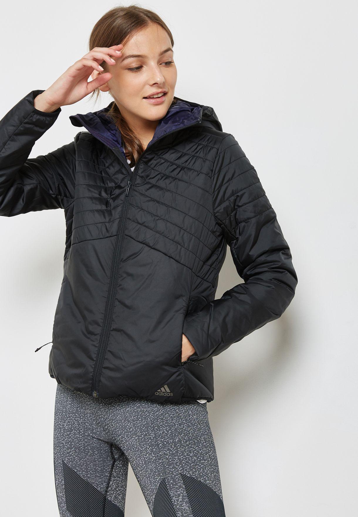 7d3e6fbd3067 Shop adidas black Cytins Padded Hooded Jacket BQ1954 for Women in ...